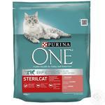 Корм сухой Purina ONE Sterilcat С лососем и пшеницей для кастрированных котов и стерилизованных кошек 800г