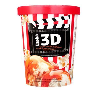 Мороженое Laska со вкусом карамельного попкорна и наполнителем соленая карамель 500г