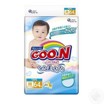 Подгузники GOO.N для детей 6-11кг размер M на липучках унисекс 64шт - купить, цены на Novus - фото 3