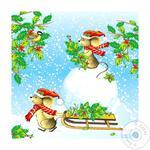 Салфетки La Fleur Мышки с санками 2 слоя 33х33 20шт