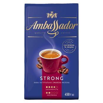 Кофе Ambassador Strong молотый 225г - купить, цены на Novus - фото 1