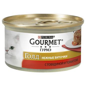 Корм Gourmet Gold Ніжні биточки з яловичиною та томатами для дорослих котів 85г