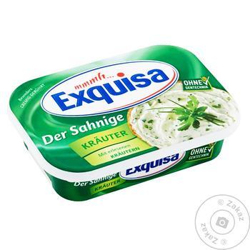 Сир Exquisa вершковий м'який з травами 66% 200г - купити, ціни на МегаМаркет - фото 1