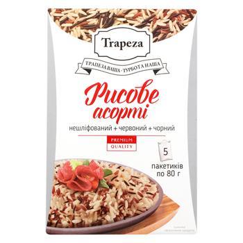 Рисове асорті Trapeza бурий, червоний та чорний 5шт*80г