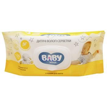 Novus Baby Wet Wipes Chamomile with Vitamins A, C, E and D-panthenol 100pcs