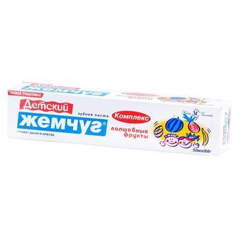 Зубная паста Новый Жемчуг Волшебные фрукты детская с ароматом дыни и арбуза 50мл - купить, цены на Восторг - фото 1