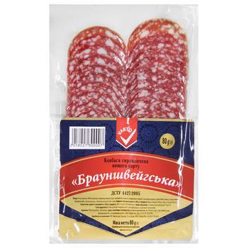 Колбаса Varto Брауншвейгская сырокопченая нарезка высший сорт 80г - купить, цены на Varus - фото 1