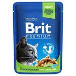 Wet food for sterilized cats Brit Premium Cat Chicken Slices for Sterilized pouch 100g (chicken pieces)