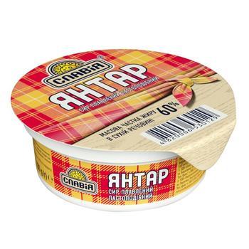 Сыр плавленый пастообразный Янтарь 60% Славия 100г - купить, цены на Фуршет - фото 1