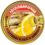 Шпроти Господарочка підсушені з лимоном в олії 150г