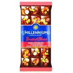 Шоколад черный Millennium Fruits&Nuts с миндалем, цельными лесными орехами, апельсиновыми цукатами и изюмом 80г