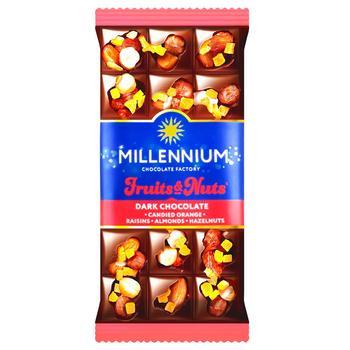 Шоколад чорний Millennium Fruits&Nuts з мигдалем, цілими лісовими горіхами, апельсиновими цукатами та родзинками 80г - купити, ціни на CітіМаркет - фото 1