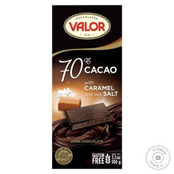 Шоколад черный Valor с тоффи и солью 70% 100г