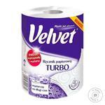 Рушники паперові Velvet Turbo 3слоя 330отрывов 1рулон