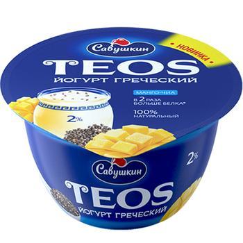 Йогурт Савушкин Teos Греческий Манго-Чиа 2% 140г