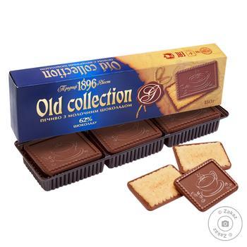 Печенье Бисквит Шоколад Old Collection с молочным шоколадом 150г - купить, цены на Фуршет - фото 1