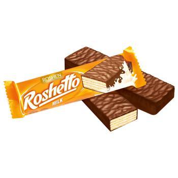 Батончик вафельный Рошен Roshetto Milk в шоколадной глазури 34г - купить, цены на СитиМаркет - фото 1