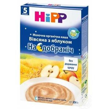 Каша молочная Hipp Organic Спокойной ночи овсяно-пшеничная с яблоком для детей с 5 месяцев 250г - купить, цены на Ашан - фото 2