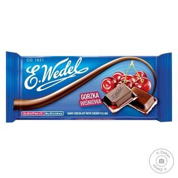 E.Wedel Dark Chocolate with Cherry Filling 100g - buy, prices for Furshet - image 1