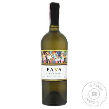 Вино Pava Pinot Gris біле сухе 9,5-14% 0,75л - купити, ціни на Ашан - фото 1