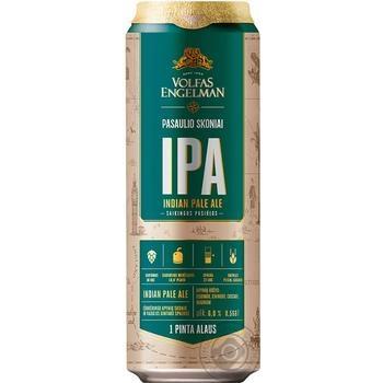 Пиво Volfas Engelman IPA светлое нефильтрованное 0,568л ж/б