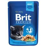 Вологий корм для кошенят Brit Premium Cat Chicken Chunks for Kitten pouch шматочки курки 100г