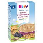 Каша дитяча HiPP 5 злаків з чорносливом молочна з пребіотиками без цукру з 6 місяців 250г