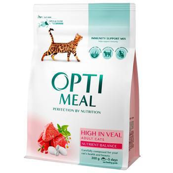 Корм Opti Meal для дорослих котів сухий з високим вмістом телятини 300г