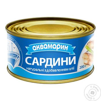 Сардина Аквамарин натуральная с добавлением масла 230г - купить, цены на Фуршет - фото 1