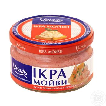 Ікра Мойви в соусі зі шматочками копченої сьомги Veladis 180г - купити, ціни на МегаМаркет - фото 1
