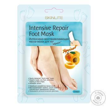 Маска-носки для ног Skinlite Абрикос интенсивное восстановление 1пара - купить, цены на Метро - фото 1