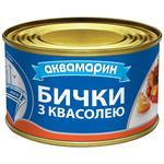 Бычки Аквамарин разобраны обжаренные с фасолью в томатном соусе 240г