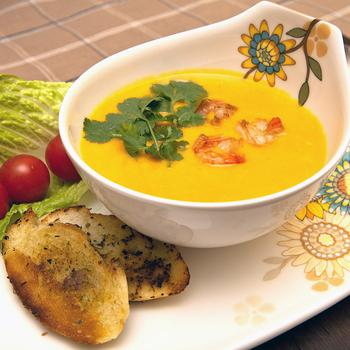 Гарбузовий суп з морепродуктами