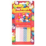 Свечи для торта Помощница Happy Party двухцветные с подставками 24шт