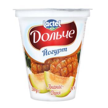 Йогурт Дольче ананас-дыня 3,2% 280г - купить, цены на Метро - фото 1