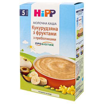 Каша детская HiPP  Кукурузная с фруктами с пребиотиками молочная без сахара с 5 месяцев 250г - купить, цены на Ашан - фото 2
