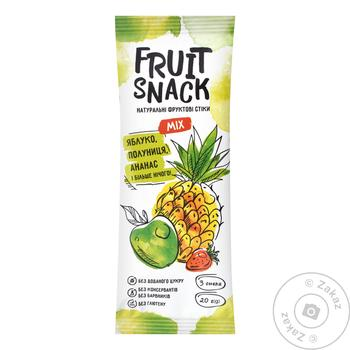 Fruit Snack Mix Apple-Strawberry-Pineapple Sugar-Free Fruit Snack 20g - buy, prices for Auchan - photo 1