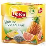 Lipton Чорний чай в пірамідках Tropical Fruit 20шт