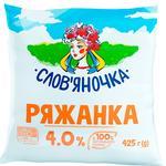 Ряженка Славяночка 4% 450г пленка