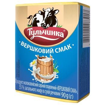 Продукт сирний плавлений Тульчинка Вершковий смак 55% 90г - купити, ціни на ЕКО Маркет - фото 1