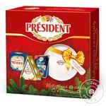 Набор сыров President Камамбер 90г, Бри 125г, Le blue 100г + тарелка для сыра