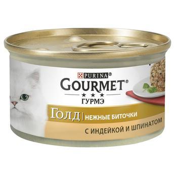 Корм Gourmet Gold Нежные биточки С индейкой и шпинатом для взрослых кошек 85г