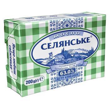 Масло Селянське Бутербродне солодковершкове 63% 200г - купити, ціни на CітіМаркет - фото 1