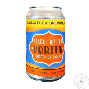Пиво Saugatuck Peanut Butter Porter темное нефильтрованое ж/б 5.7% 0,355л