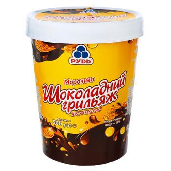 Морозиво Рудь Шоколадний грильяж зі шматочками мигдалю та глазур'ю 500г - buy, prices for Auchan - photo 1