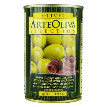 Arte Oliva With Anchovies Whole Green Olives 300g - buy, prices for Novus - photo 1