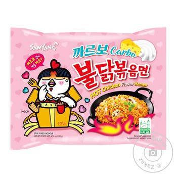Samyang Ramen noodles with carbonara flavor and hot chicken 130g