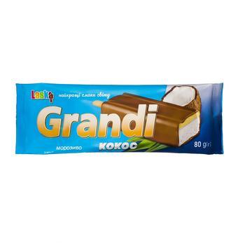 Мороженое Laska Grandi эскимо ванильное с наполнителем Кокос в кондитерской глазури 80г - купить, цены на Novus - фото 1