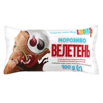 Морозиво Laska Велетень з наповнювачем шоколад і вишня 100г