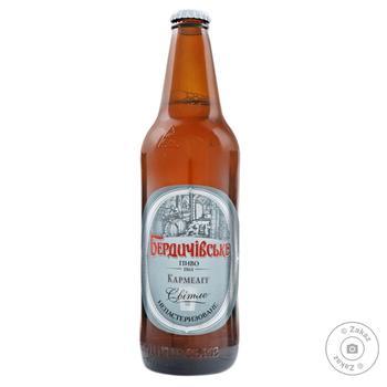 Пиво Бердичевское Кармелит светлое непастеризованное 3.9%об. стеклянная бутылка 500мл Украина - купить, цены на Фуршет - фото 1
